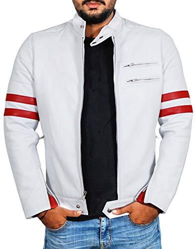 Laverapelle Men's Genuine Lambskin Leather Jacket (White-Red, Medium, Polyester Lining) - 1501535