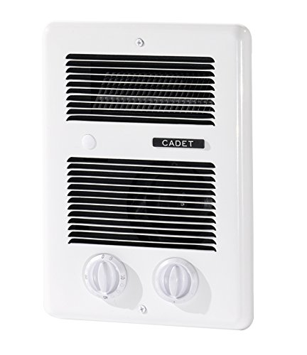 Cadet Com-Pak Bath 1000W 120V 240V best bathroom electric wall heater with thermostat and timer, white