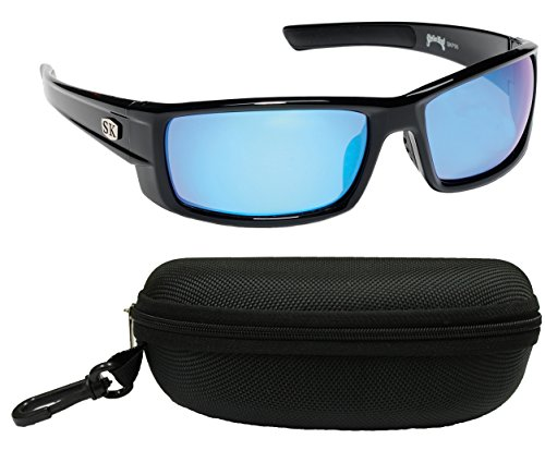 Strike King Plus SG-SKP06-CS Bosque Polarized Sunglasses Bundle, Shiny Black Frame with Multi Layer White/Blue Mirror Gray Base Lens, with Black - Sk Sunglasses