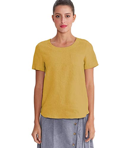 Amazhiyu Women's Linen Short Sleeves Blouse Crew Neck Summer Casual Tops Loose Fit (Ginger, Large)