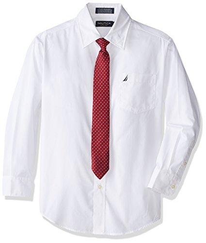 Nautica Dress Up Big Boys' Poplin Shirt And Tie Set, White, 8 -