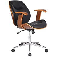 Adeco Bentwood Adjustable Swivel Home Office Mobile Desk Chairs with Wood Arm Rest Caster Wheels (Black I)