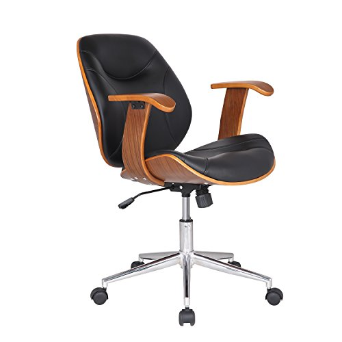 Bentwood Arm (Adeco Bentwood Adjustable Swivel Home Office Mobile Desk Chairs with Wood Arm Rest Caster Wheels (Black I))