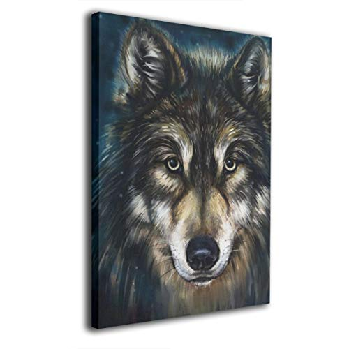 AJKSFHIU Wall Art Print 16x12 Inch Oil Painting Canvas Artwork Contemporary Vintage Pictures for Office Living Room Bedroom Kitchen Home Bathroom Wall Decor Decorations Lobo Wolf