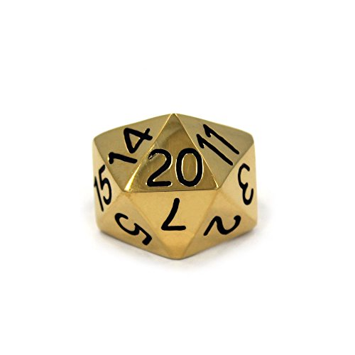 HAN CHOLO 20 Sided Dice Ring (gold-plated-stainless-steel, 10)