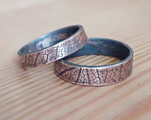 Handmade His and Hers Personalized Wedding Promise Ring Set Alternative Matching Rings for him and her, Patina Leaf Textured Copper, Silver color - Textured Copper Ring