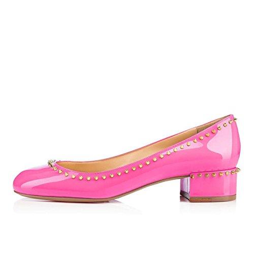 Arc-en-Ciel zapatos de charol punta redonda remache pisos bajos talón de las mujeres Rosa