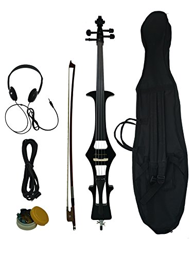 Full Size 4/4 Silent Electric Cello, w/ a gig bag,bow,rosin, headphone, cable & battery by Harmonia