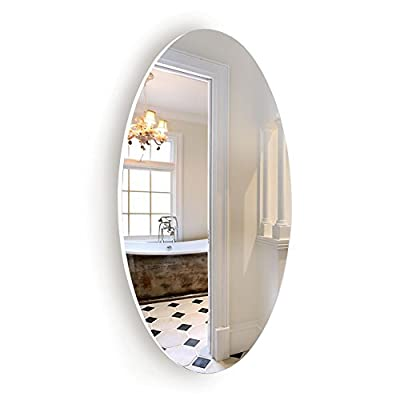 """Facilehome Oval Wall Mounted Mirror Dressing Mirror Frameless,Bedroom or Bathroom Mirror,Horizontal or Vertical(25.1"""" x 14.8"""" x 0.79"""") - FRAMELESS:This oval wall mounted mirror is a highly minimalism design,elegant but sophisticated. The wall mirror designed without frame,give you more vision and save your space; WALL MOUNTED:There are 4 pre-drilled hole on the back of the mirror,you may hang it horizontal or vertical.Hardware are included; MATERIAL:Constructed with silver back real glass mirror.The back frame is made of MDF wood,highly durable; - bathroom-mirrors, bathroom-accessories, bathroom - 41TthqR1AuL. SS400  -"""