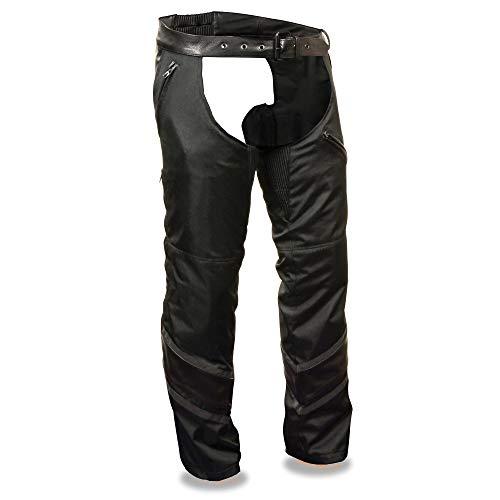 Milwaukee Men's Textile Chap with Leather Trim Detailing (Black, Medium)