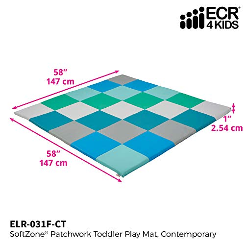 ECR4Kids Softzone Patchwork Toddler Foam Play Mat, 58 Square, Contemporary