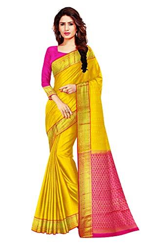 SUKRA SILKS SAREES Women's Kanchipuram Pure Silk Orginal Pattu Body 1000 Butta Work With Blouse Piece (SUKRAKP25_Yellow)
