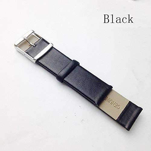 JWJY 時計バンドレザーブラックダークブラウン時計バンド16ミリメートル18ミリメートル20ミリメートル22ミリメートル24ミリメートルの交換ストラップピンバックルをポリッシュ (Band Color : Black, Band Width : 16mm)