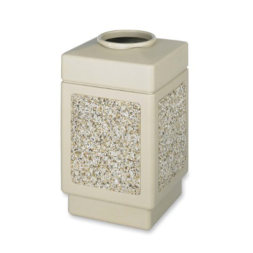 (Safco Products Canmeleon Outdoor/Indoor Aggregate Panel Trash Can 9471TN, Tan, Natural Stone Panels, 38 Gallon Capacity)