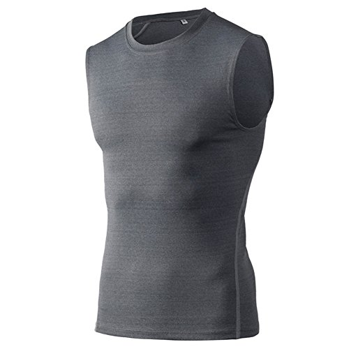 TOPTIE Mens Compression Sleeveless Base Layer, Athletic Workout T-Shirt-Grey-XL ()