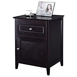 Espresso Wood Nightstand Bedside End Table With Ebook