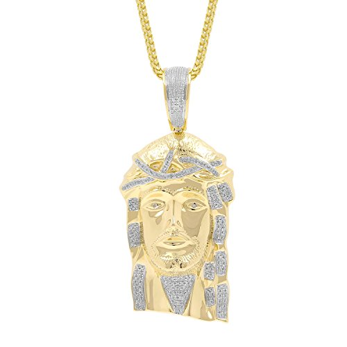 0.52ct Diamond Jesus Face Religious Mens Hip Hop Pendant in Yellow Gold Over 925 Silver (I-J, I1-I2) by Isha Luxe-Hip Hop Bling