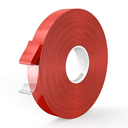 LLPT Double Sided Tape Acrylic Waterproof Removable Residue Free Strong Mounting Tape 0.6 Inch x 108 Feet Clear(AC0600)