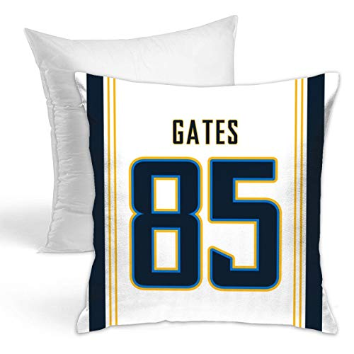 Fedasgoge Personalized Custom Football Decorative Throw Pillow 18 X 18 Pillow Inserts - Print #85 Antonio Gates White Jersey Style Throw Pillow Case