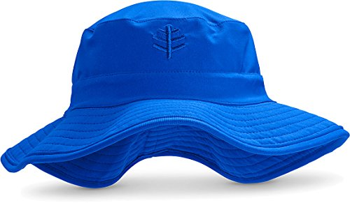 Coolibar UPF 50+ Kids' Surfs Up Bucket Hat - Sun Protective (Small/Medium- Blue Wave)