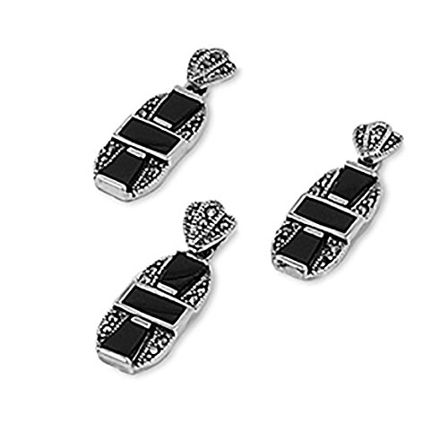 925 Sterling Silver Marcasite Earrings and Pendant Set simulated Black Simulated Onyx Accent Free 18