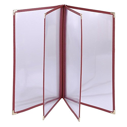 Chimaera (20-Pack) Legal Size 8.5'' x 14'' Clear Transparent Shatterproof Restaurant 8-View Menu Holders with Gold Corners (Red Trim) by CHIMAERA (Image #3)