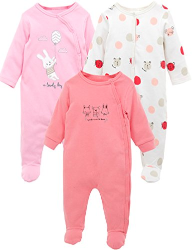 kavkas Baby Girl Jammies Newborn Footies Rompers Long Sleeve 9 12 Months Clothes Baby Girl Sleepsuits Pink Baby Clothes