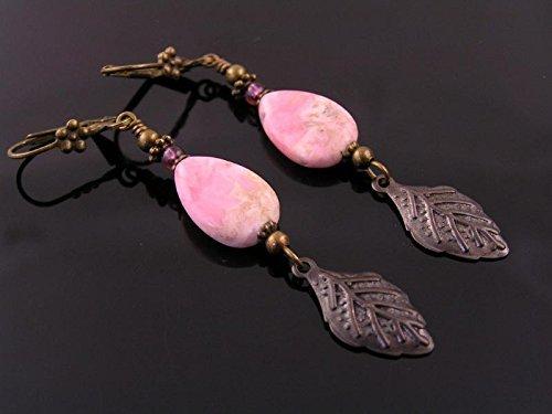 (Rhodochrosite Earrings with Leaf)