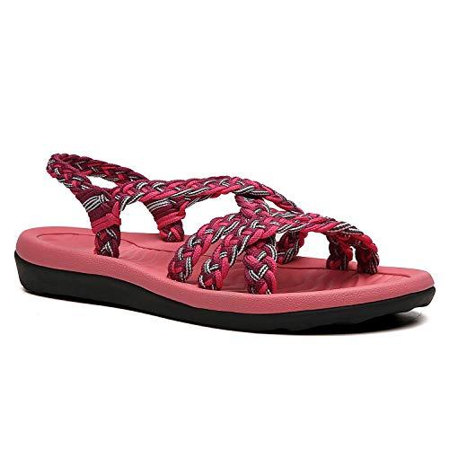 URRAX Women's Comfortable Flat Walking Sandals with Arch Support Waterproof for Walking/Hiking/Travel/Wedding/Water Spot/Beach.18ZDKDUR01-W4-9 Coral/Purple