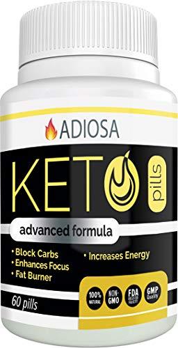 Adiosa Keto Carb Blocker Weight Loss Pills - Supplements to Burn Fat Fast - 60 Pills - Premium Keto Supplement - Keto Appetite Suppressant for Women & Men - Keto ()