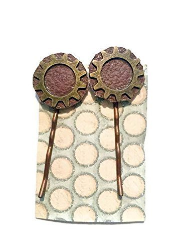 [Bronze Steampunk Leather Bobby Pins Hair Clips] (Best Sci Fi Fantasy Costumes)
