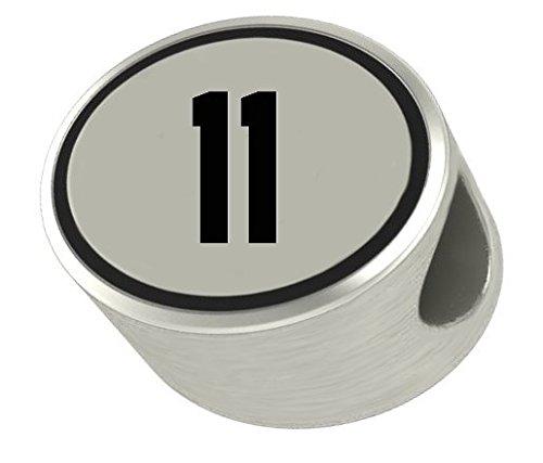 Nfl Logo Charm - #11 Number 11 Oval Bead Charm Universal European Slide On Charm -