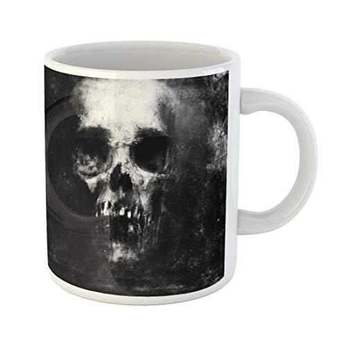 Semtomn Funny Coffee Mug Face Scary Skull Halloween Devil Metal Monster Abstract Black 11 Oz Ceramic Coffee Mugs Tea Cup Best Gift Or Souvenir]()