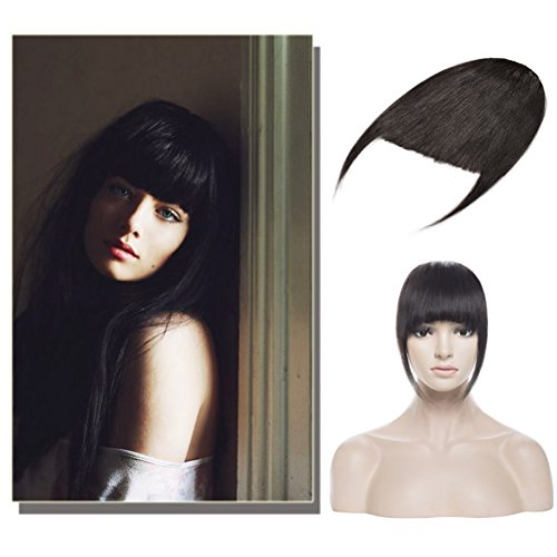 Soft Thick Straight Clip in Bangs Remy Human Hair Extensions Hairpiece with Temple 3 Clips Accessories Full Neat Fringe 7