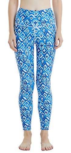 Ubestyle UPF 50+ High Waist Women's Swim Leggings Running Tights Sun Protective (Blue-Rhombus, M) ()