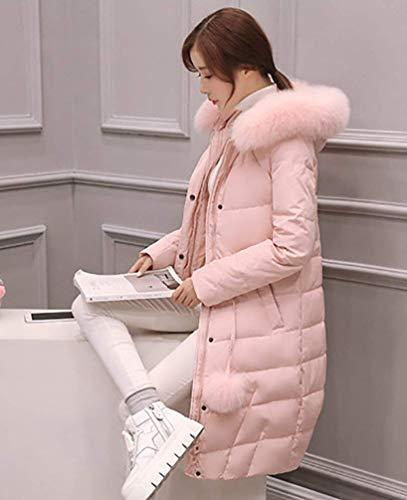 Incappucciato Chiusura Vintage Rosa Trapuntata Libero Donna Piumini Cappotto Fashion Lunga Piumino A Caldo Cerniera Autunno Giacca Tempo Tasche Costume Monocromo Invernali Laterali wZ6qg