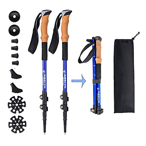 Aihoye Trekking Waling Hiking Poles Collapsible Lightweight - Adjustable Anti-Shock 7075 Hiking Walking Sticks 2 Pack with Strong Quick Flip-Lock and Comfortable Cork Grips