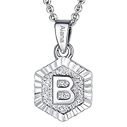 Focalook Personalized Necklace Platinum Plated Tiny Letter Initial B Pendant Customize Name Necklace Gifts For Women Girls