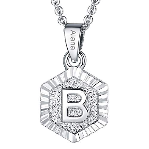 Custom Name Necklace A-Z 26 Letters Pendants Platinum Plated Hexagon Script Monogram Initial Jewelry Stainless Steel 20 Inch Chain, Capital Alphabet Personalized Gifts for Women Girls (Letter B) ()
