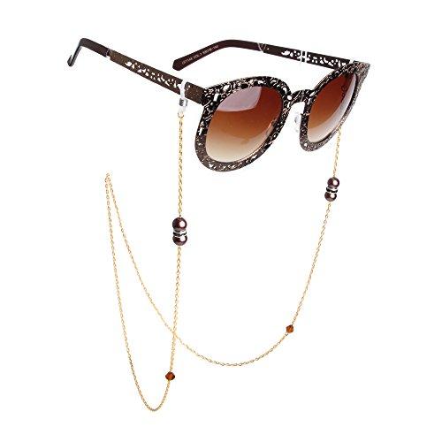Kalevel Eyeglass Chain Holder Strap Beaded Glasses Sunglasses Chain Eyeglass Chains and Cords For Women (Coffee)