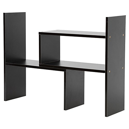 (AK Energy Black DIY Shelf Bookcase Countertop Home Furniture Space Storage Rack Bookshelves Tabletop)