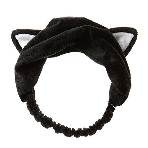 I DEW CARE Black Cat Headband, Cat ears headband, Facial shower headband, Soft wash hairband, Super Instagramable kitty headband, Pull over head