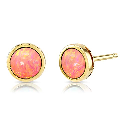 Paul Wright Created Pink Opal Stud Earrings, 10K Yellow Gold, 7mm Round (1.00cttw), Vibrant Coral Pink Color, on Posts ()