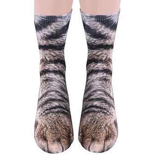 Eurobuy Animal Paw Socks 3D Print Animal Foot Hoof Paw Feet Crew Socks Adult Digital Simulation Socks Unisex Tiger Dog Cat Sock (Grey Cat)