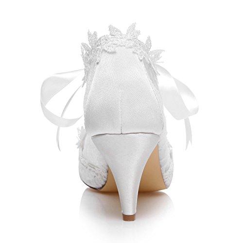 Brude Bånd Kjegle Bryllup Jia Blonder Peep 5949419 Toe Hæl Slips Hvit Satin Sko Pumps Kvinners RxYqP5g