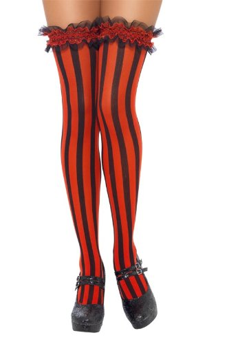 afc0db63e Smiffy s Striped Stockings Thigh High - Black Red  Smiffys  Amazon.co.uk   Toys   Games