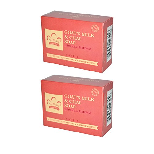 - Nubian Heritage Goat's Milk & Chai Bar Soap, With Shea Butter, Goat's Milk, Rose Petals, Rose Extract, & Chai Leaf Extract, 5 oz (Pack of 2)