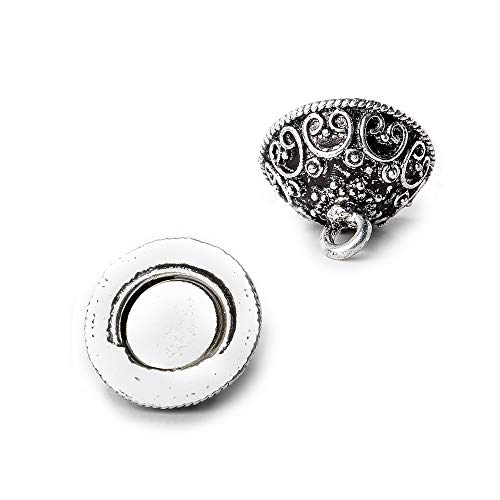 14mm Antiqued Sterling Silver Plated Copper Magnetic Clasp Round Bali Design 1 - Silver Clasp Antiqued