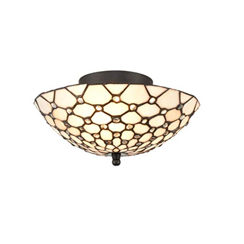 EUL Tiffany Style Semi Flush Mount Ceiling Fixture Antique Brass & Art Colorful Glass Shade-3 Lights