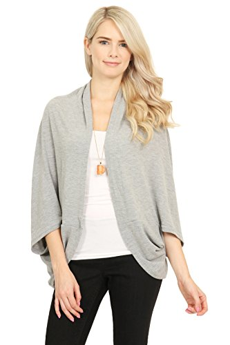 ncho - Dolman Sweater Versatile Shawl Wrap Cardigan Plain, Tassel Fringe, 4-in-1 Convertible Ombre (Plain - Light Grey) ()